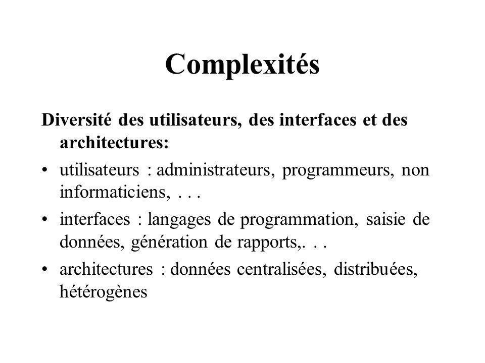 Complexités Diversité des utilisateurs, des interfaces et des architectures: utilisateurs : administrateurs, programmeurs, non informaticiens, . . .