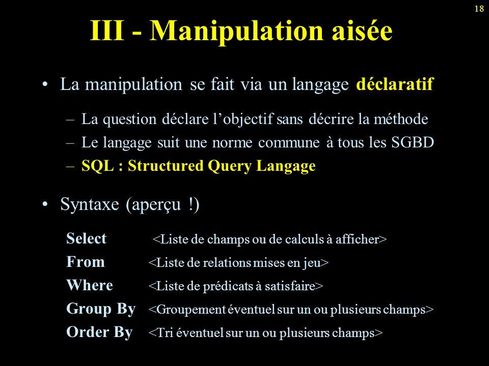 III - Manipulation aisée