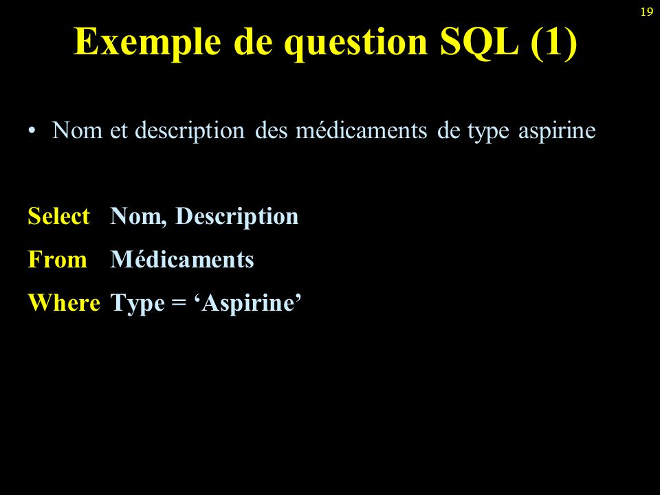 Exemple de question SQL (1)