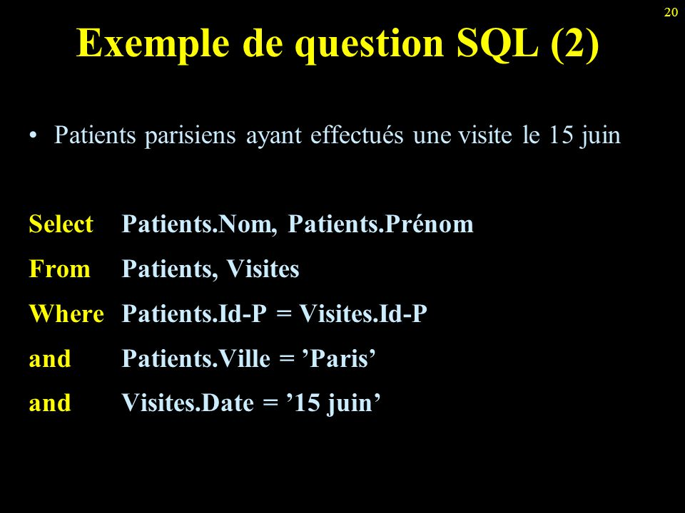 Exemple de question SQL (2)