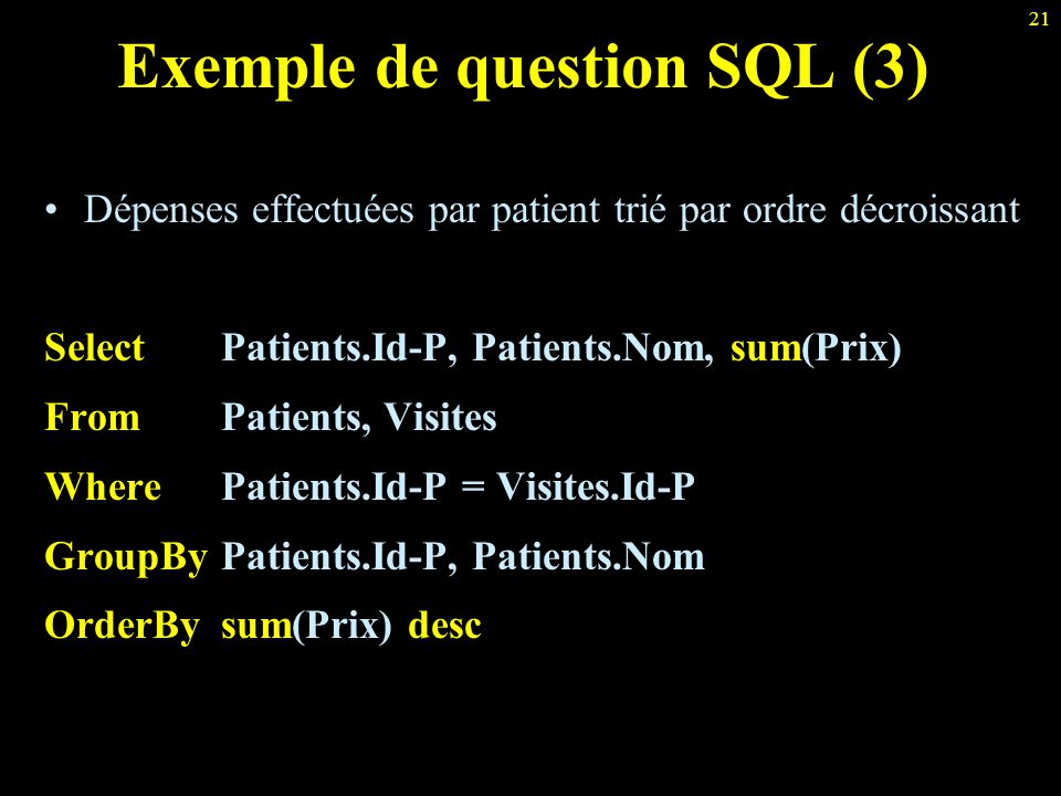 Exemple de question SQL (3)
