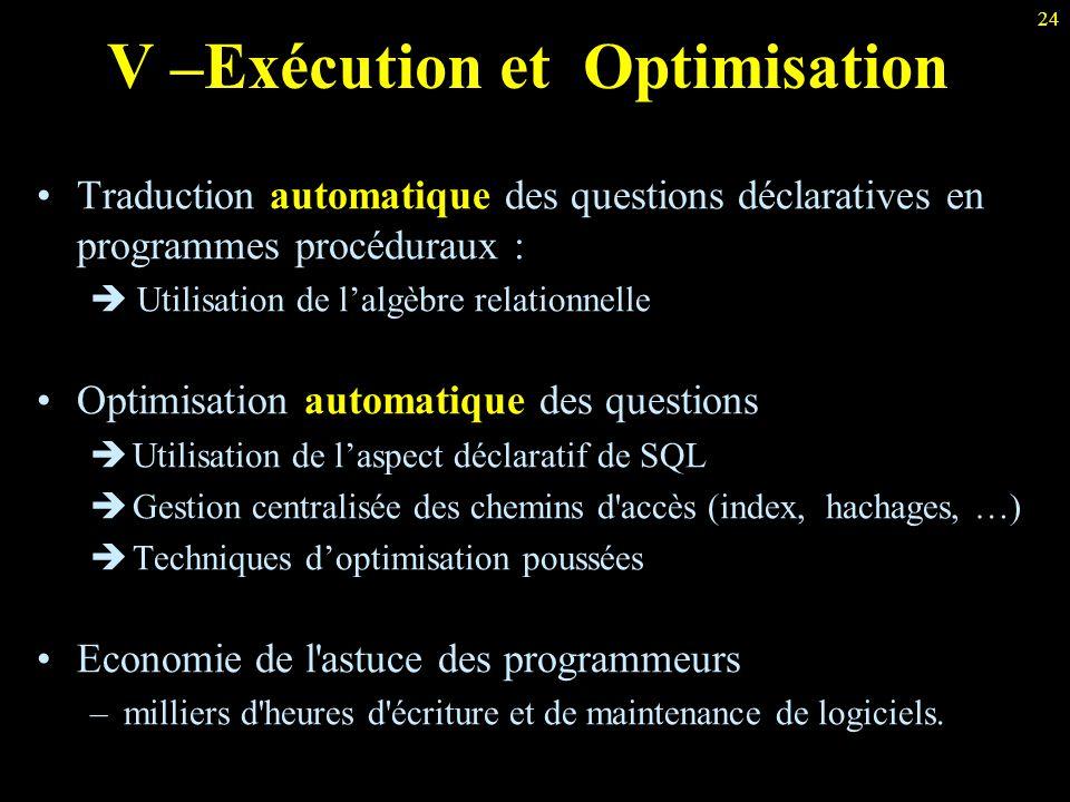 V –Exécution et Optimisation