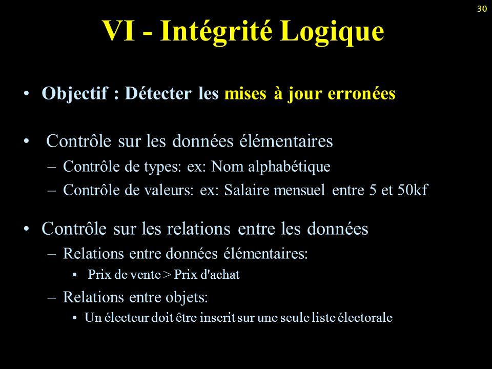 VI - Intégrité Logique Objectif : Détecter les mises à jour erronées
