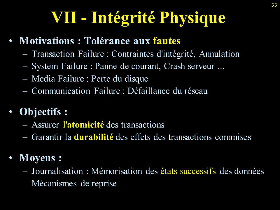 VII - Intégrité Physique