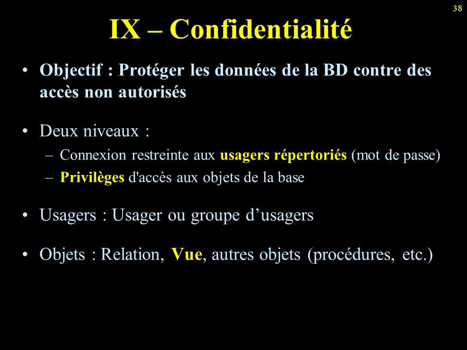 IX – Confidentialité Objectif : Protéger les données de la BD contre des accès non autorisés. Deux niveaux :