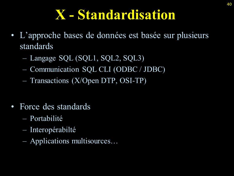 X - Standardisation L'approche bases de données est basée sur plusieurs standards. Langage SQL (SQL1, SQL2, SQL3)