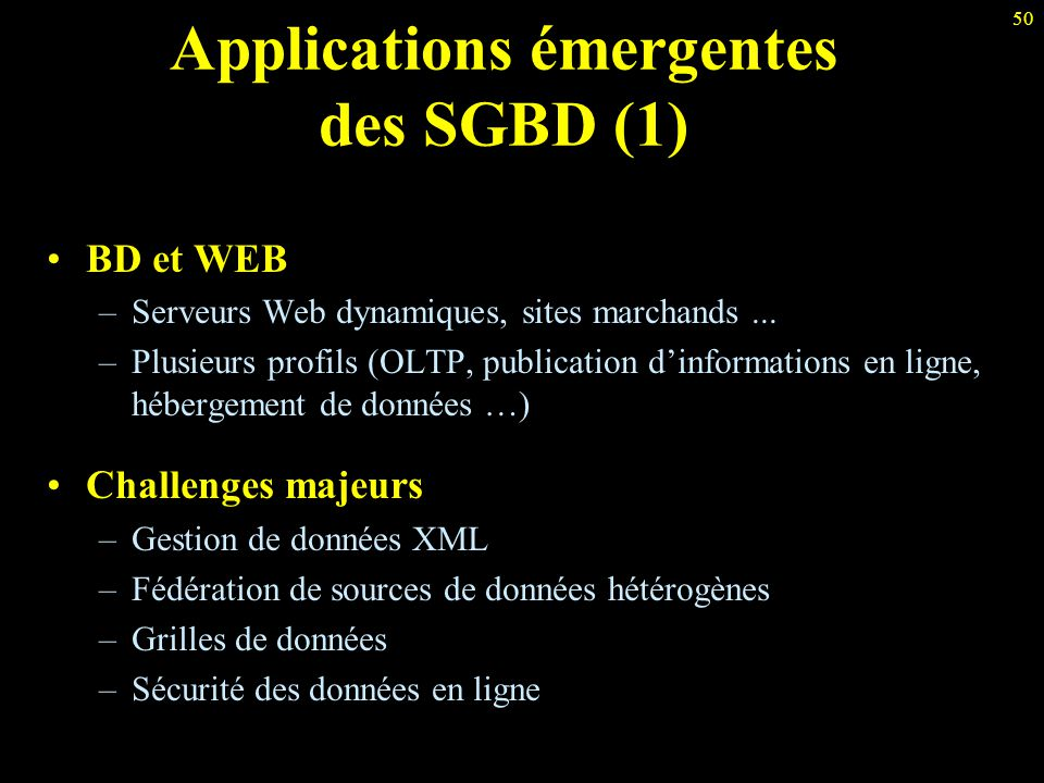 Applications émergentes des SGBD (1)