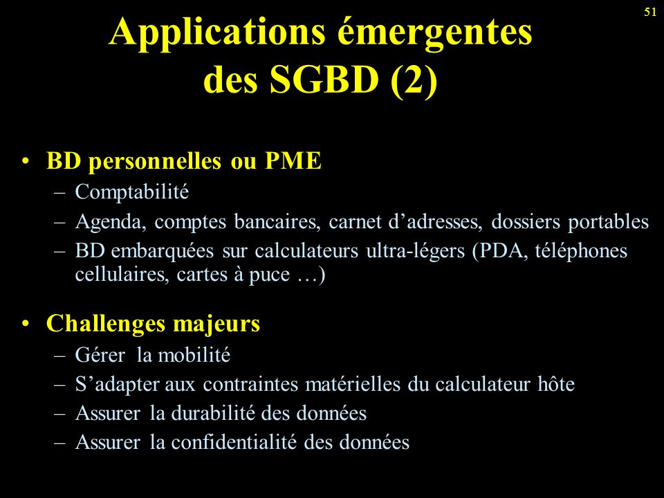 Applications émergentes des SGBD (2)