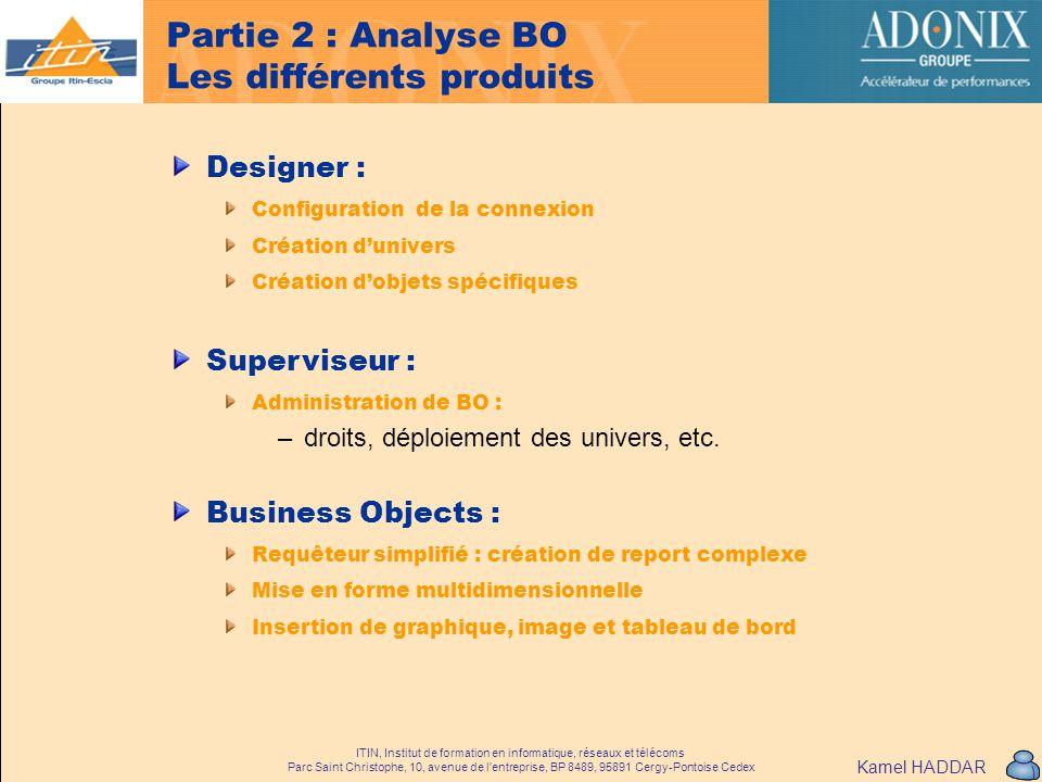 Partie 2 : Analyse BO Les différents produits