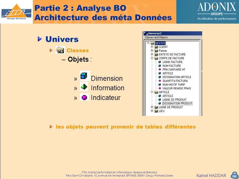 Partie 2 : Analyse BO Architecture des méta Données