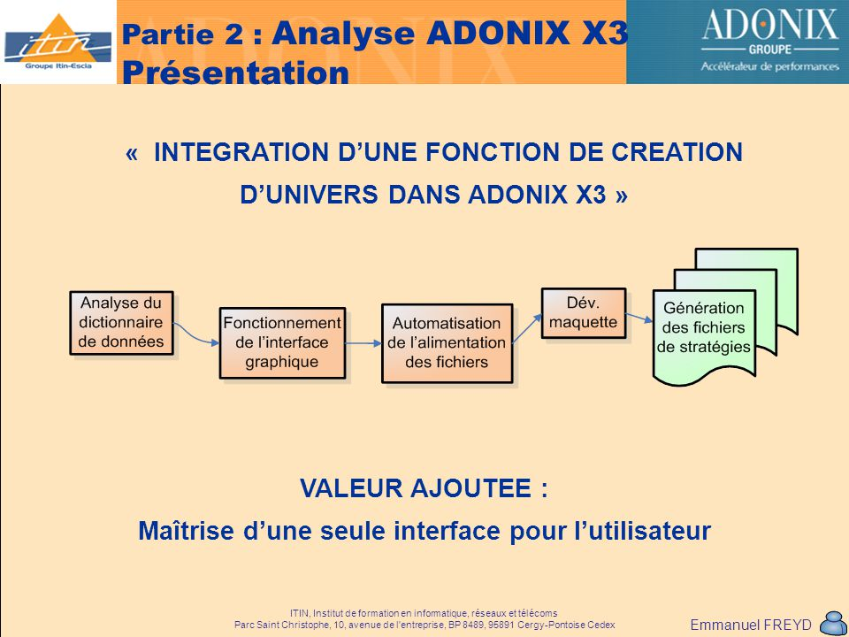Partie 2 : Analyse ADONIX X3 Présentation