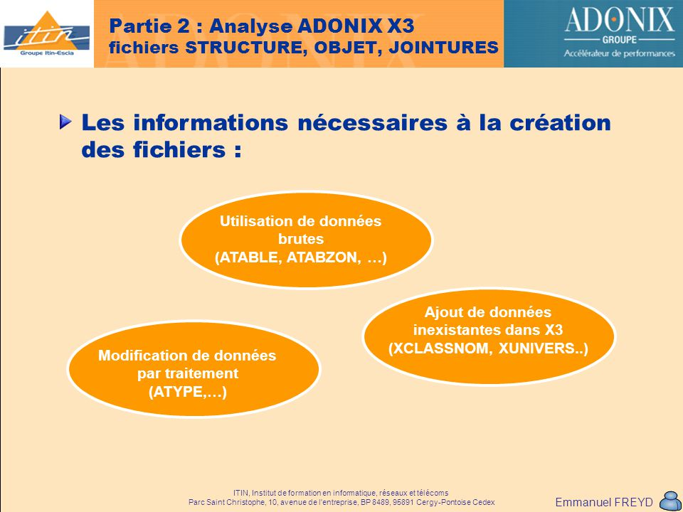 Partie 2 : Analyse ADONIX X3 fichiers STRUCTURE, OBJET, JOINTURES