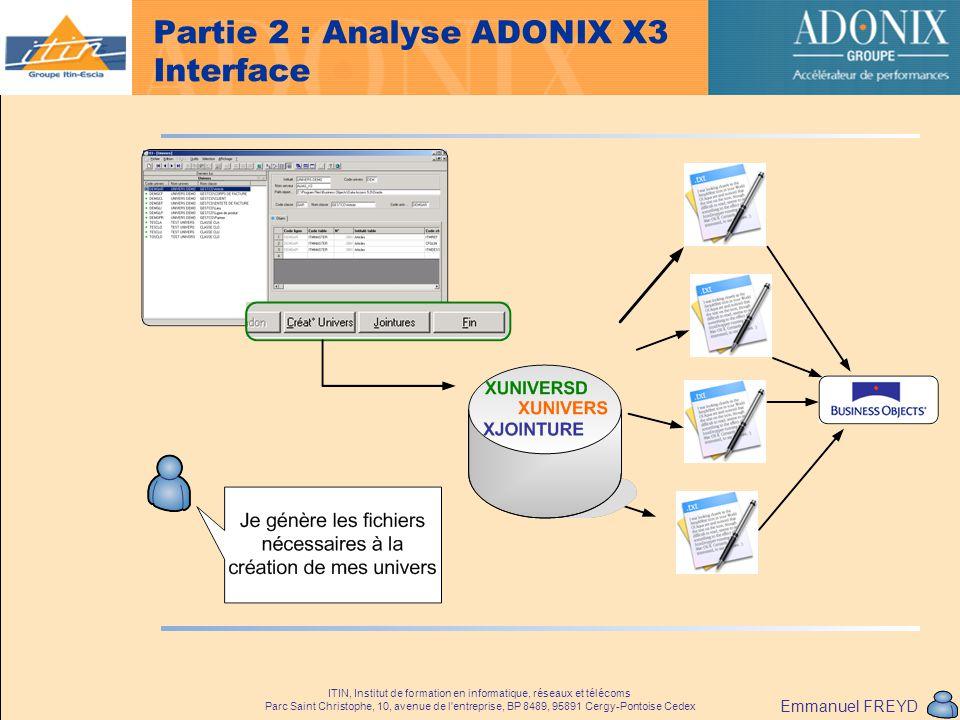 Partie 2 : Analyse ADONIX X3 Interface
