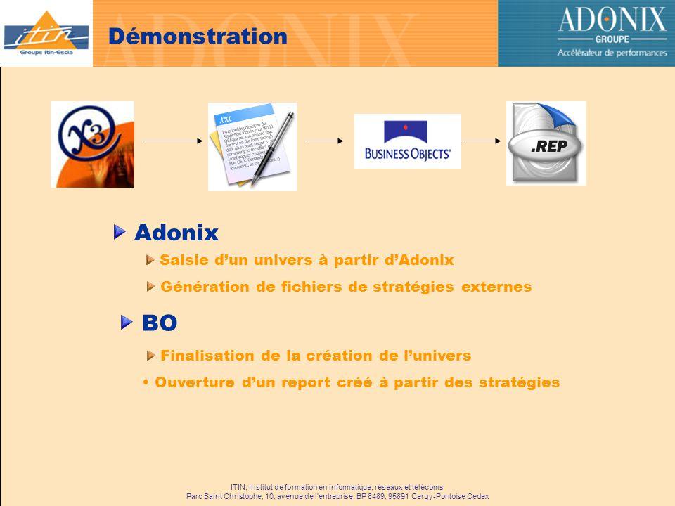 Démonstration Adonix BO Saisie d'un univers à partir d'Adonix