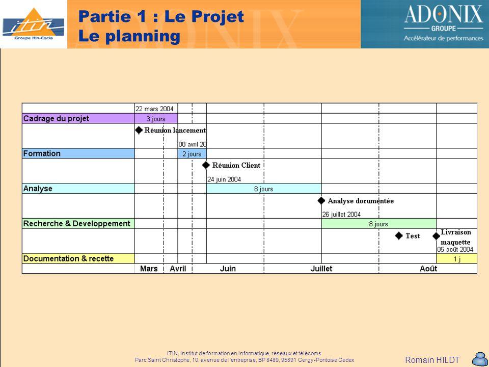 Partie 1 : Le Projet Le planning