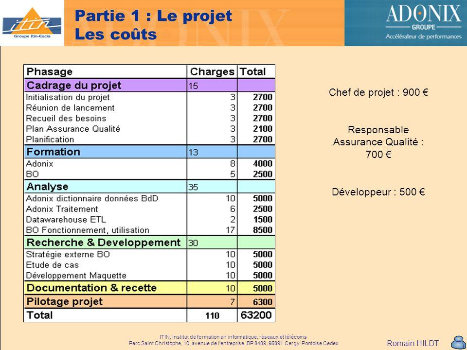 Partie 1 : Le projet Les coûts