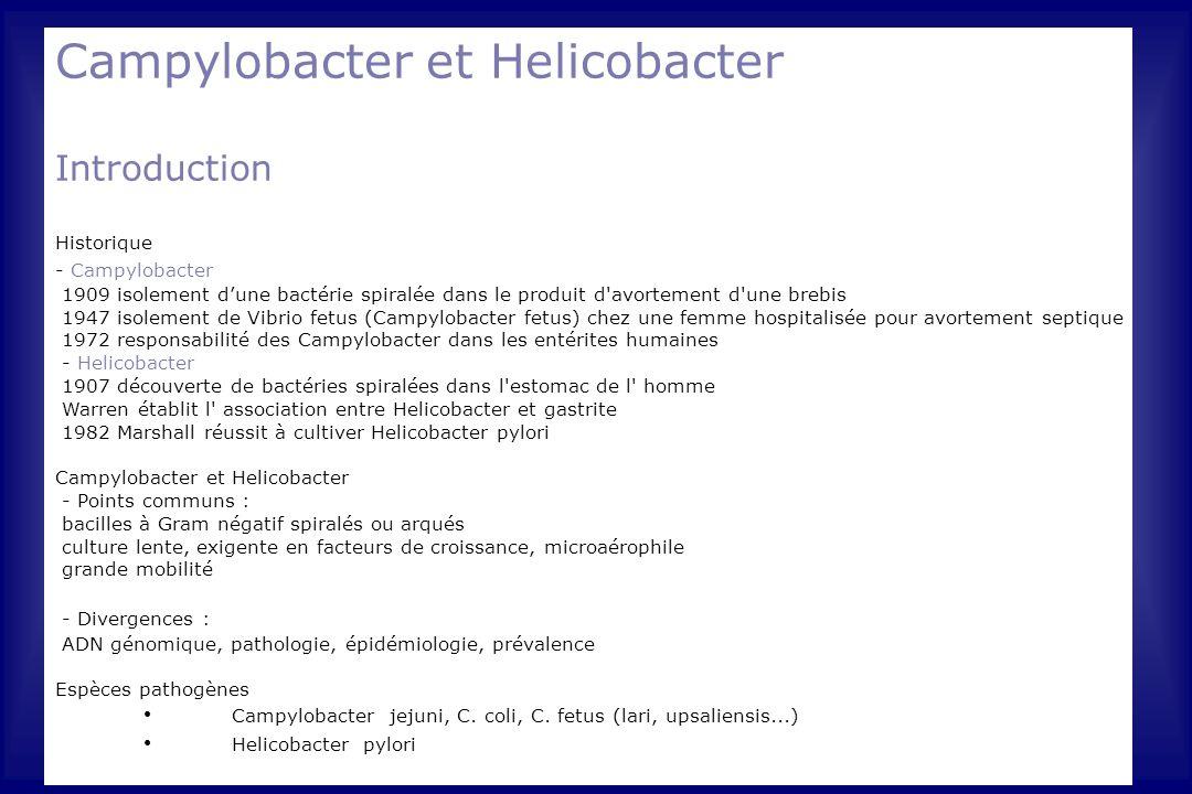 Campylobacter et Helicobacter