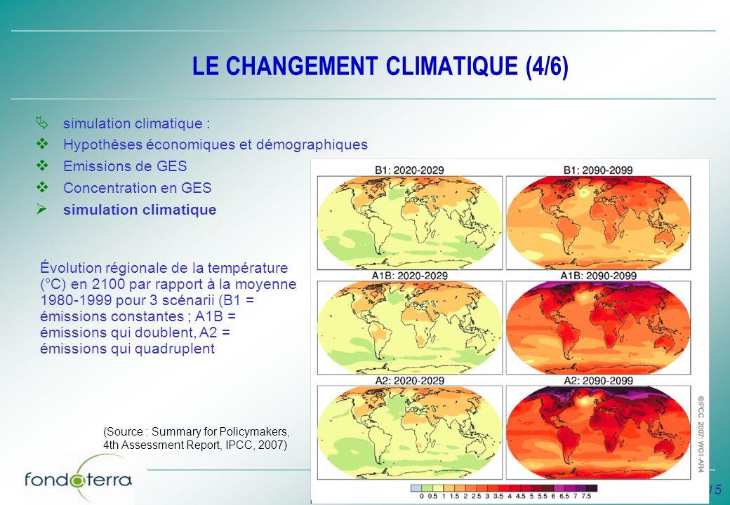LE CHANGEMENT CLIMATIQUE (4/6)