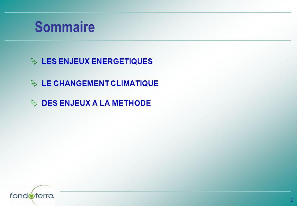 Sommaire LES ENJEUX ENERGETIQUES LE CHANGEMENT CLIMATIQUE