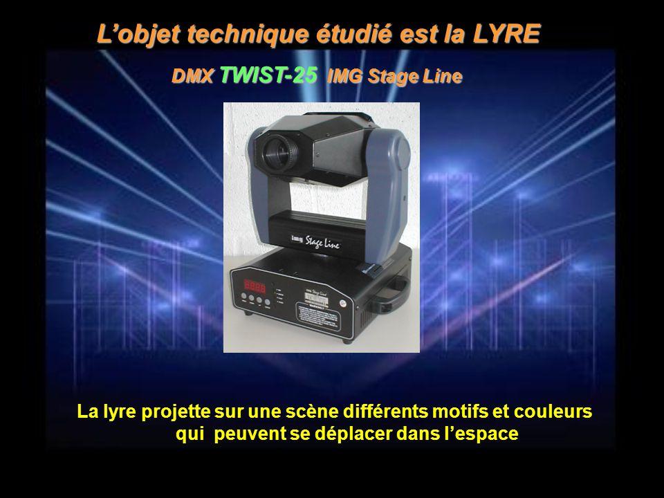 L'objet technique étudié est la LYRE DMX TWIST-25 IMG Stage Line