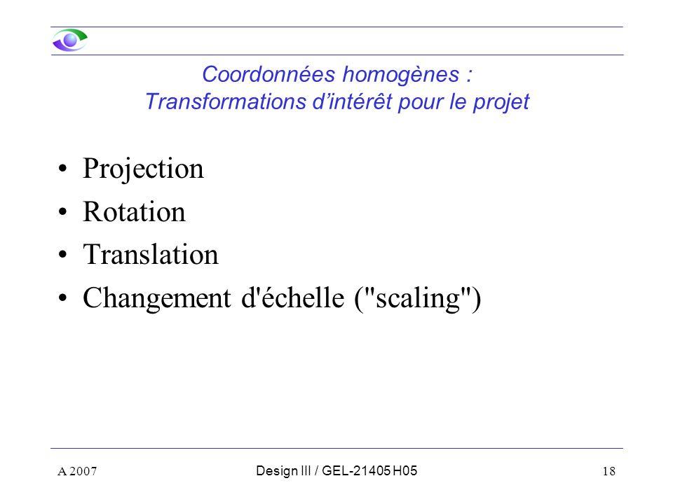Coordonnées homogènes : Transformations d'intérêt pour le projet
