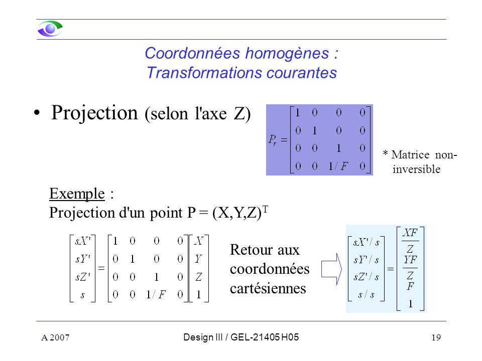 Coordonnées homogènes : Transformations courantes