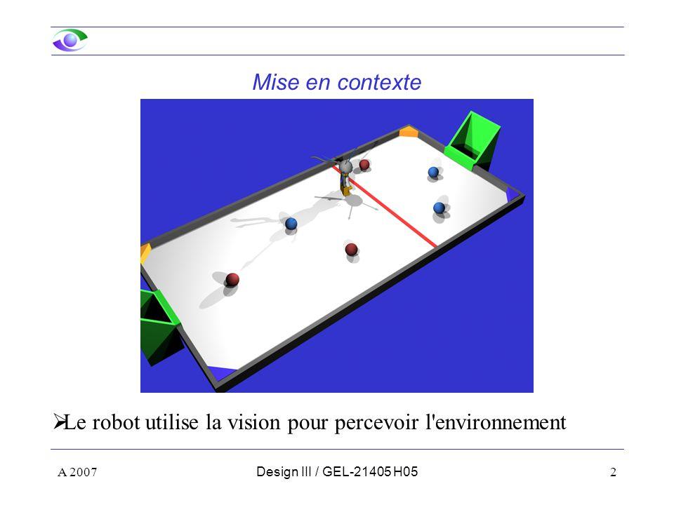 Le robot utilise la vision pour percevoir l environnement