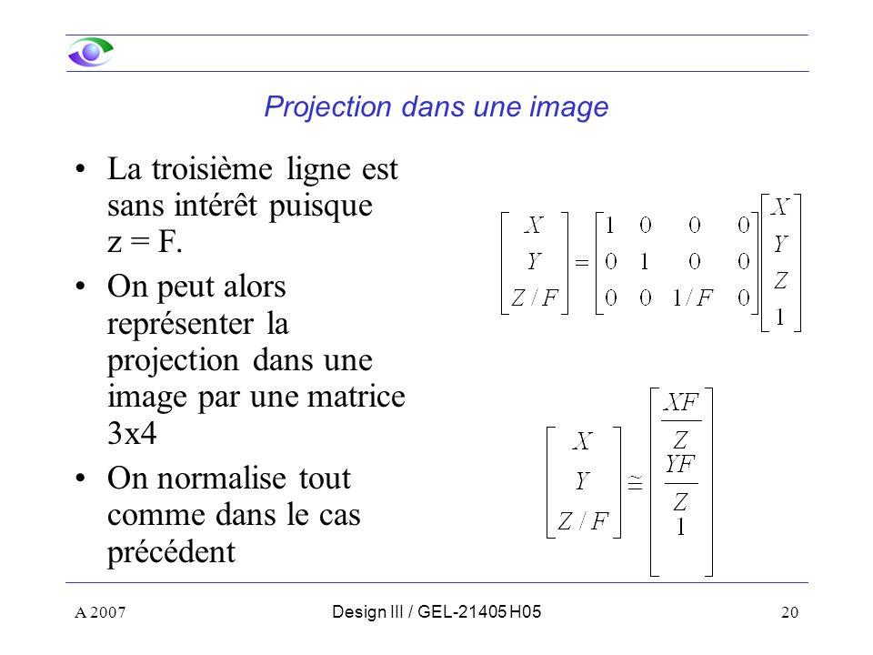Projection dans une image