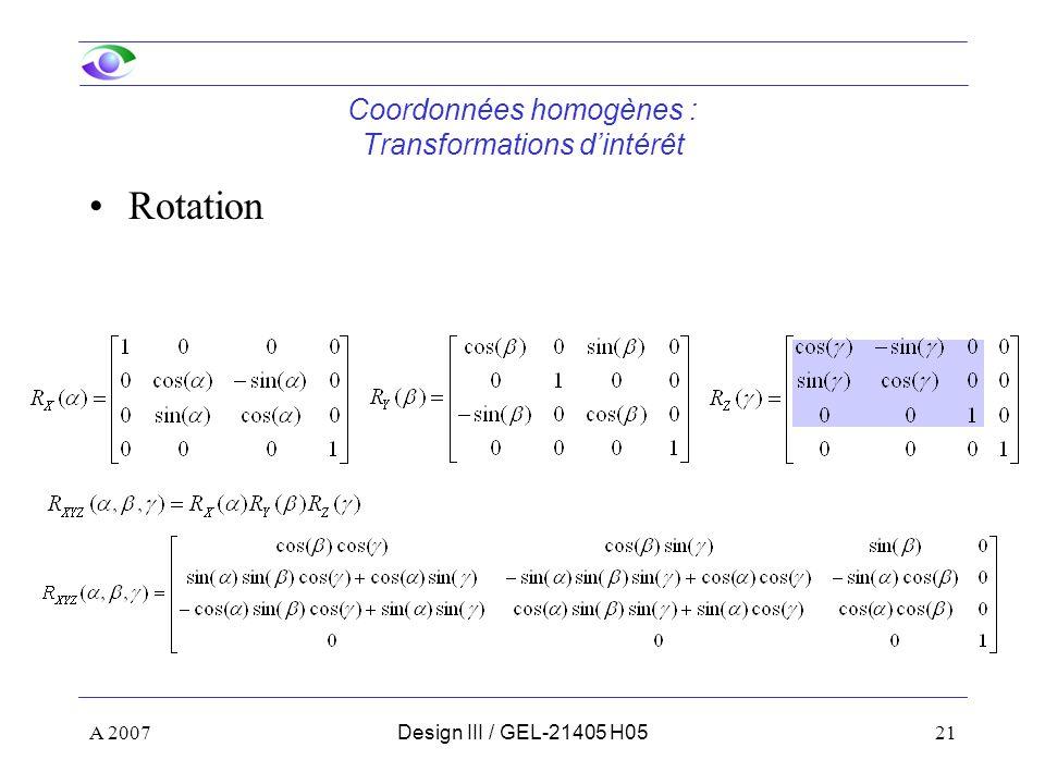 Coordonnées homogènes : Transformations d'intérêt