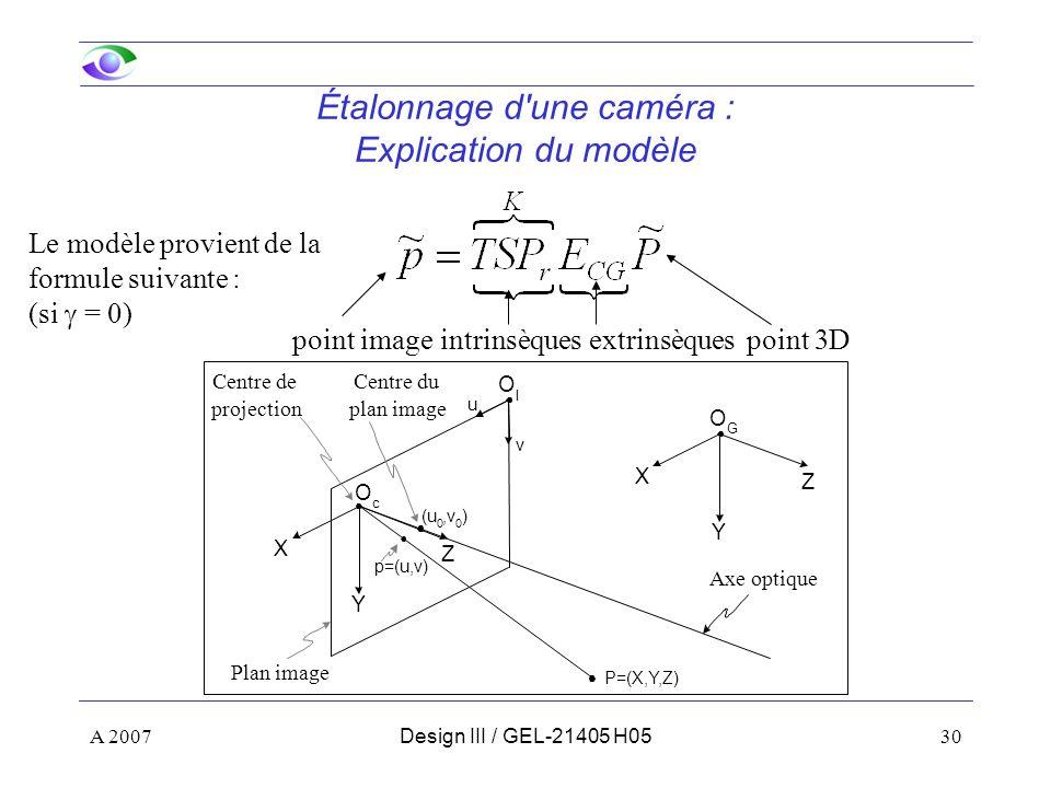 Étalonnage d une caméra : Explication du modèle