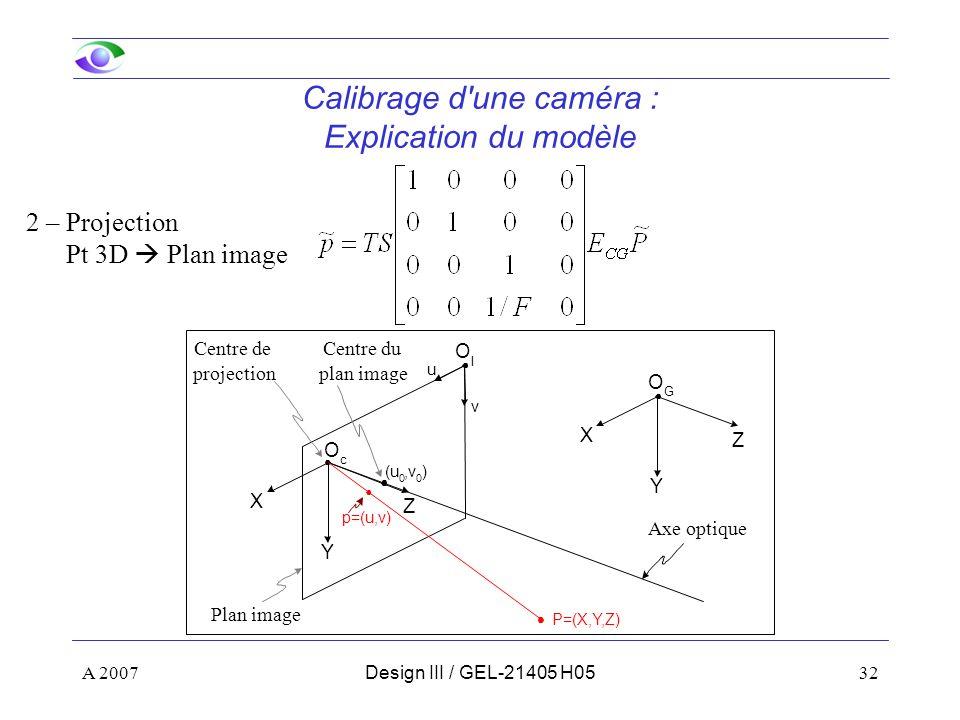 Calibrage d une caméra : Explication du modèle