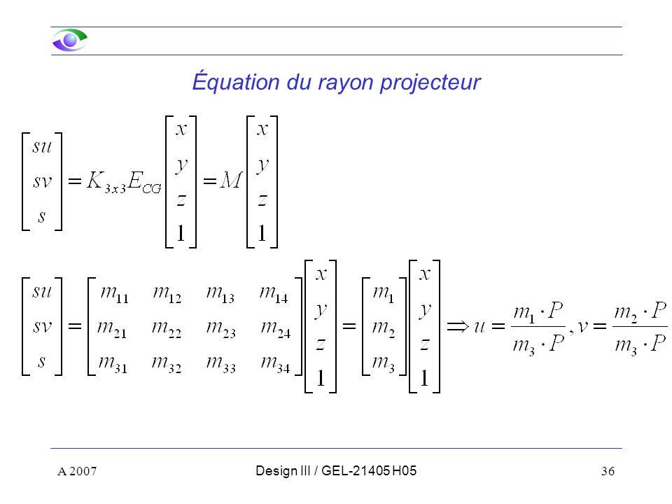 Équation du rayon projecteur