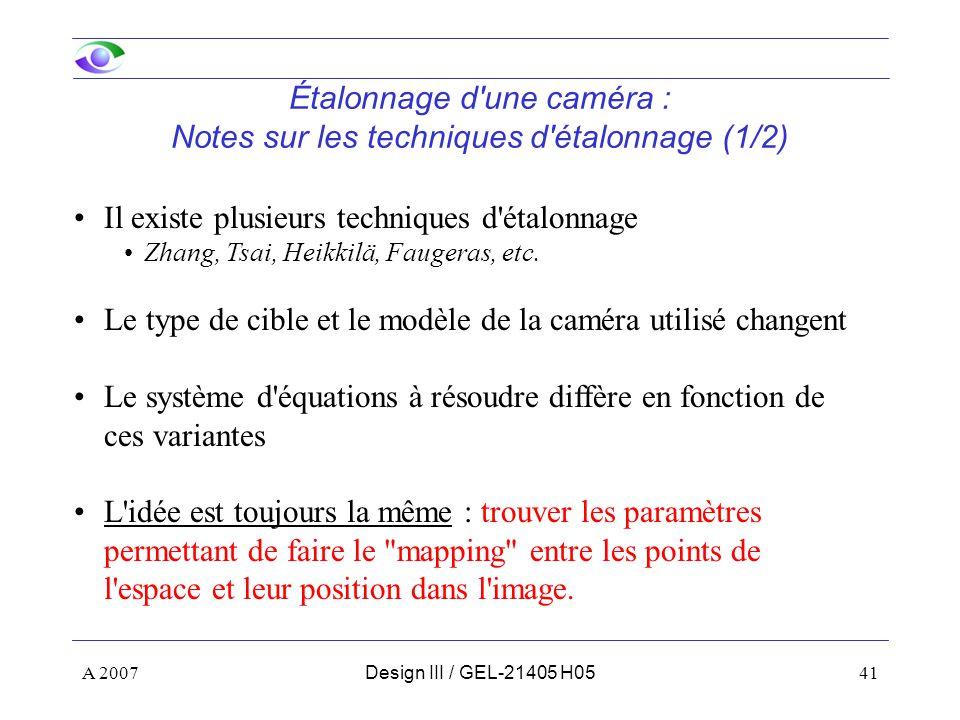 Étalonnage d une caméra : Notes sur les techniques d étalonnage (1/2)