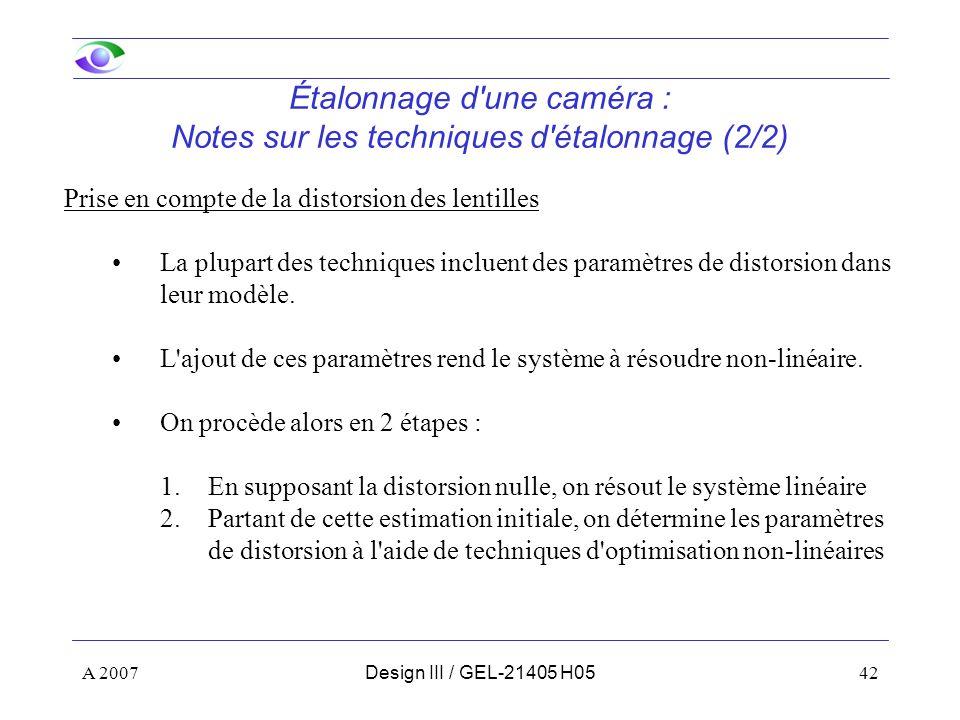 Étalonnage d une caméra : Notes sur les techniques d étalonnage (2/2)
