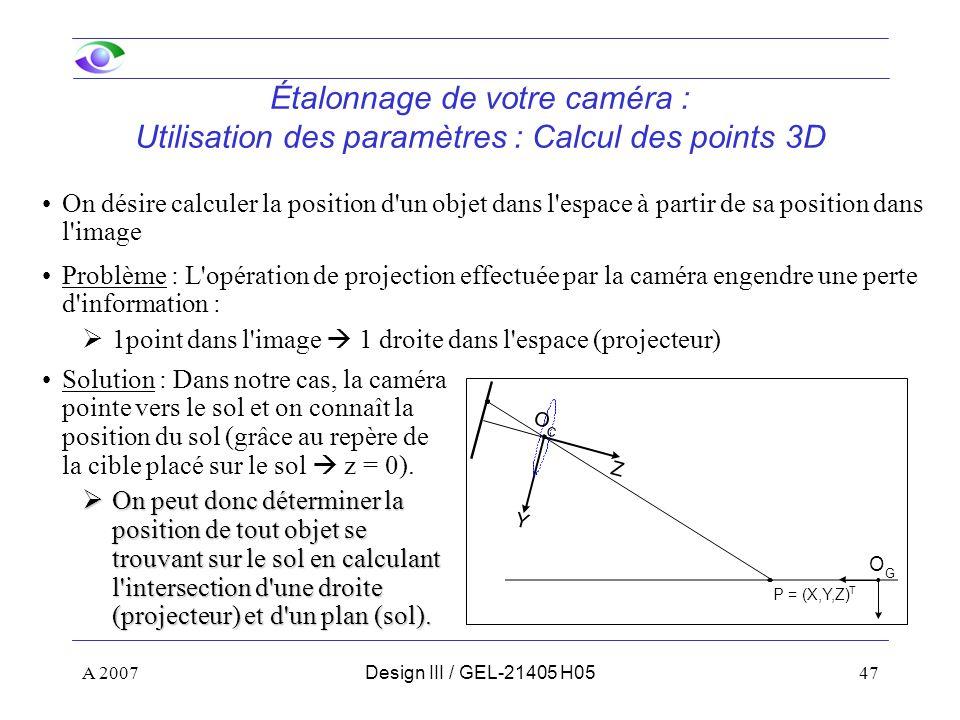 Étalonnage de votre caméra : Utilisation des paramètres : Calcul des points 3D