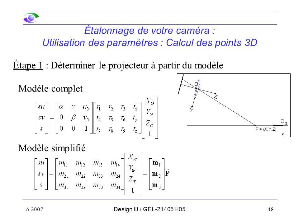 Étape 1 : Déterminer le projecteur à partir du modèle