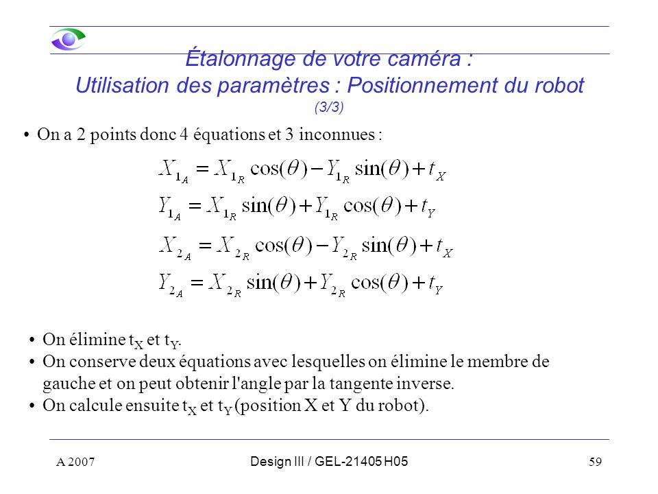 Étalonnage de votre caméra : Utilisation des paramètres : Positionnement du robot (3/3)