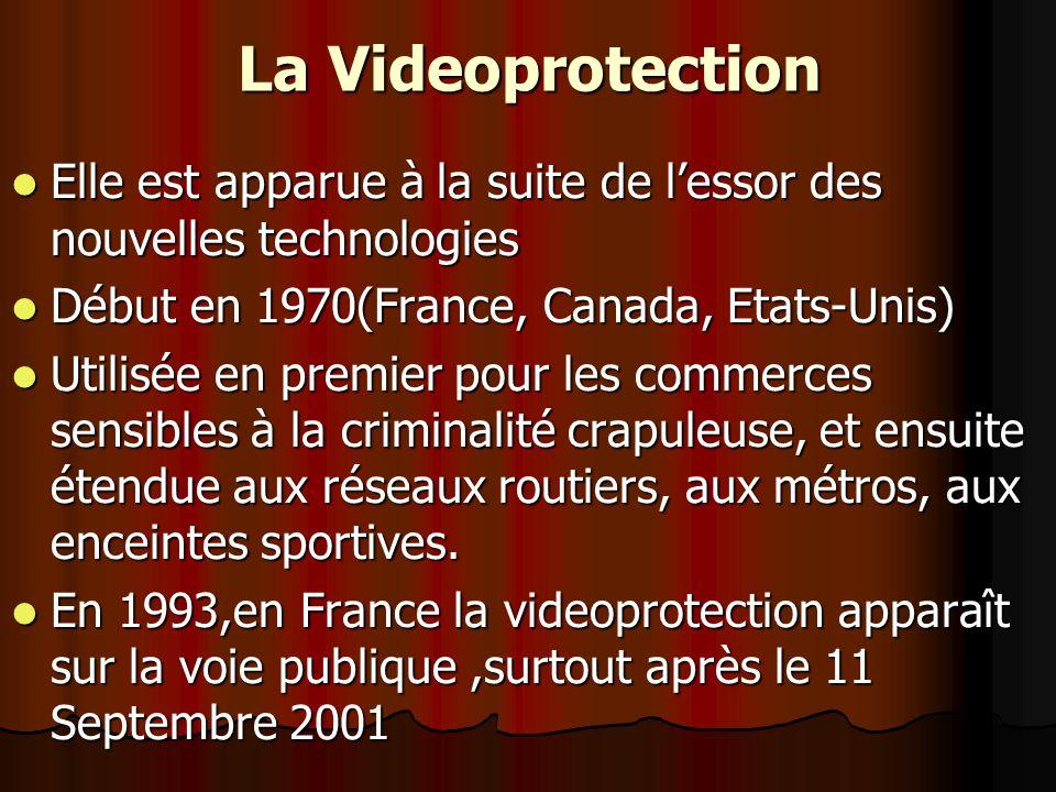 La Videoprotection Elle est apparue à la suite de l'essor des nouvelles technologies. Début en 1970(France, Canada, Etats-Unis)