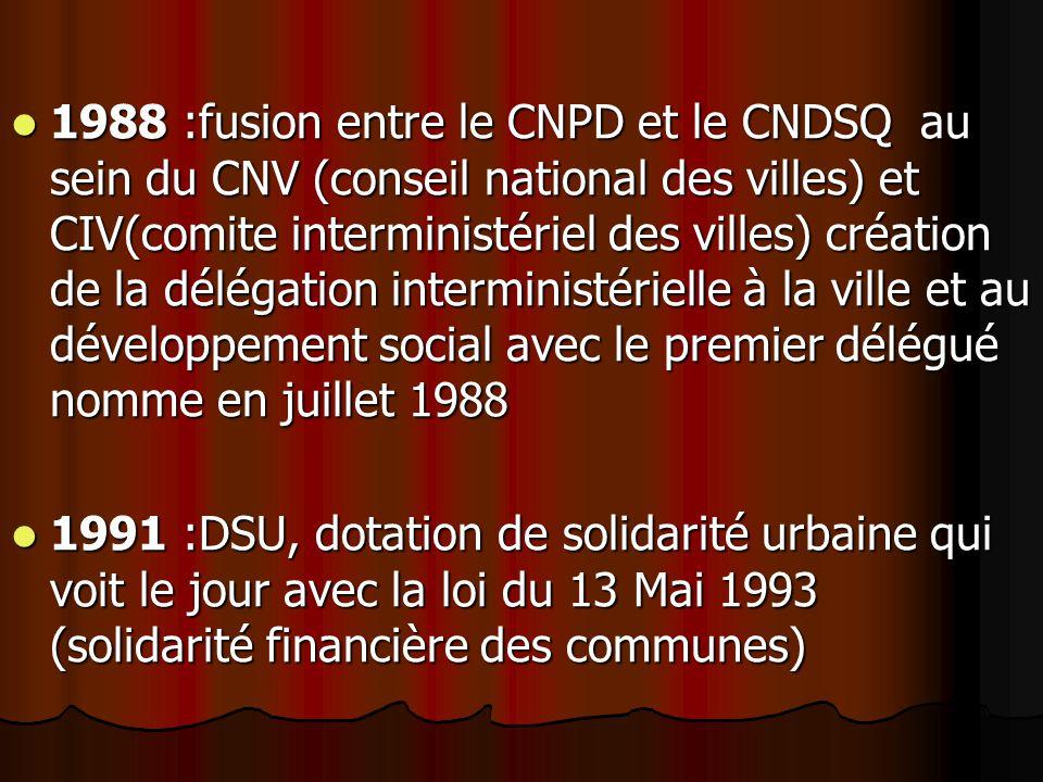 1988 :fusion entre le CNPD et le CNDSQ au sein du CNV (conseil national des villes) et CIV(comite interministériel des villes) création de la délégation interministérielle à la ville et au développement social avec le premier délégué nomme en juillet 1988