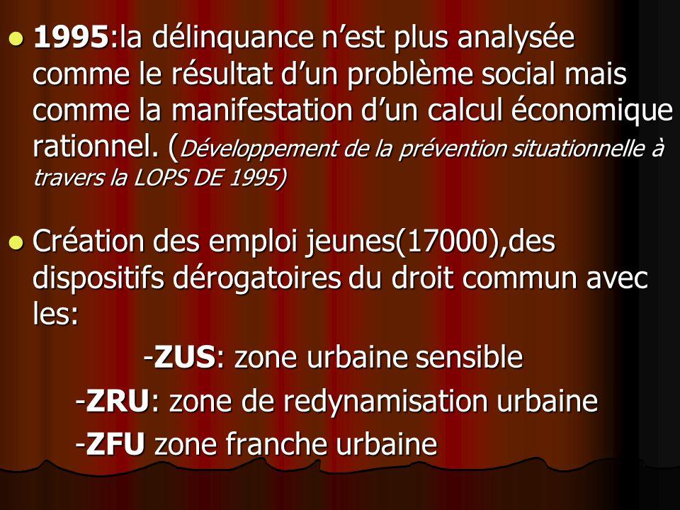 1995:la délinquance n'est plus analysée comme le résultat d'un problème social mais comme la manifestation d'un calcul économique rationnel. (Développement de la prévention situationnelle à travers la LOPS DE 1995)