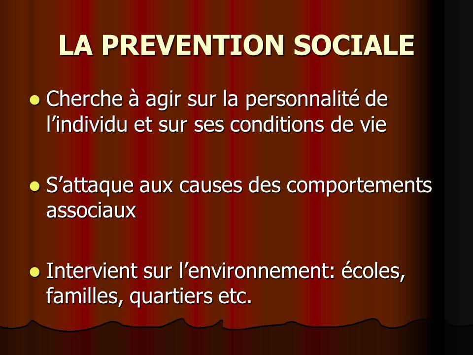 LA PREVENTION SOCIALE Cherche à agir sur la personnalité de l'individu et sur ses conditions de vie.