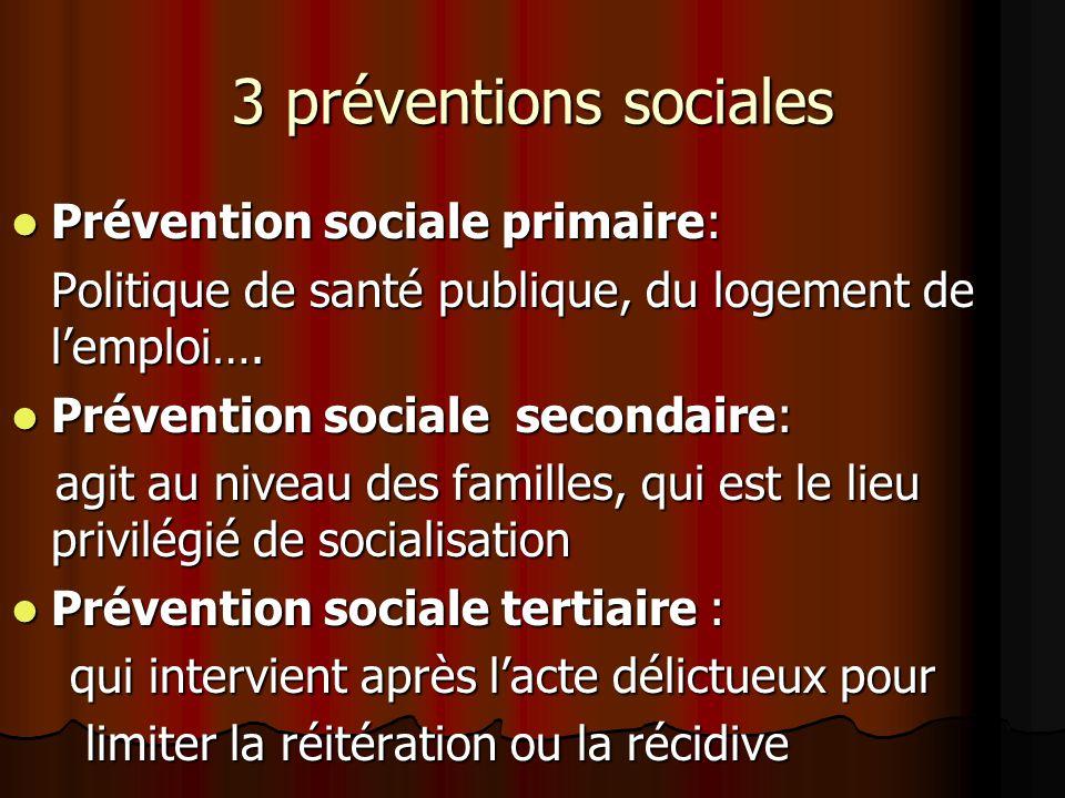 3 préventions sociales Prévention sociale primaire: