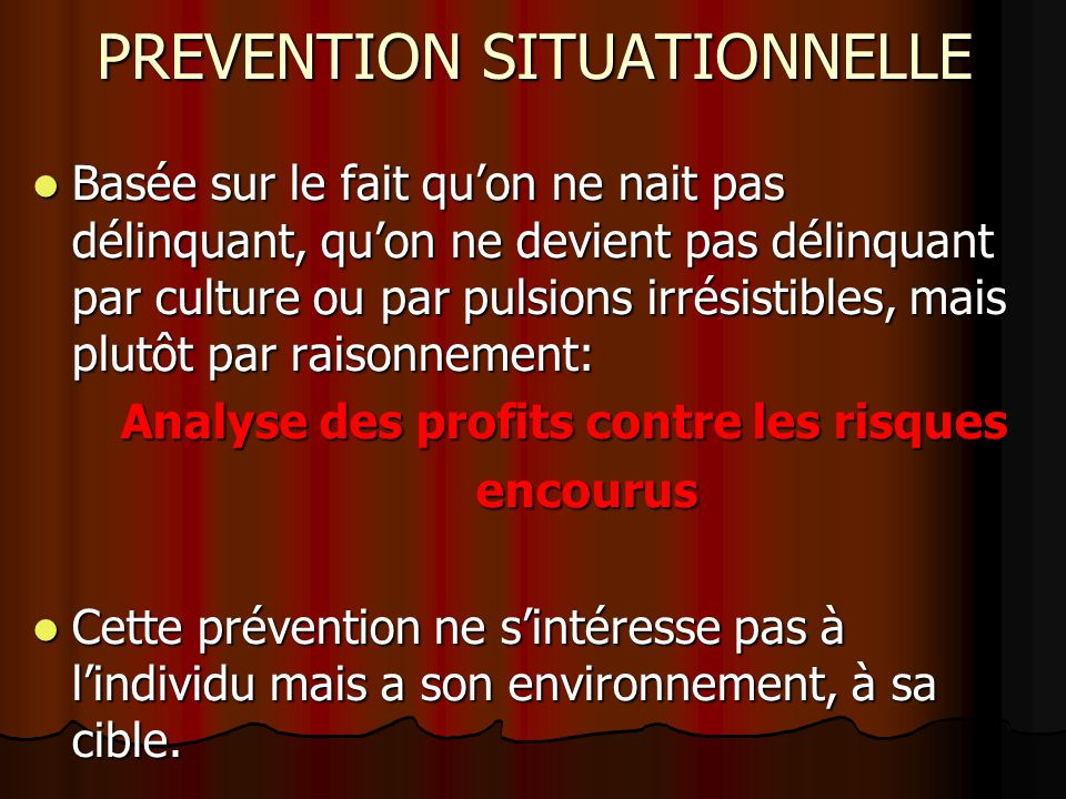 PREVENTION SITUATIONNELLE