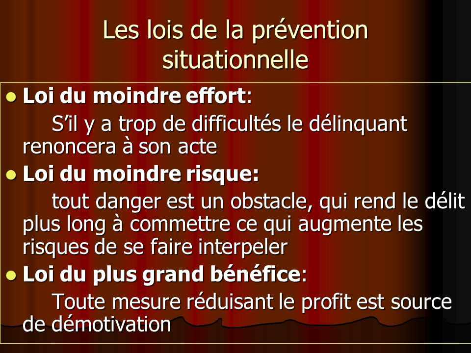 Les lois de la prévention situationnelle