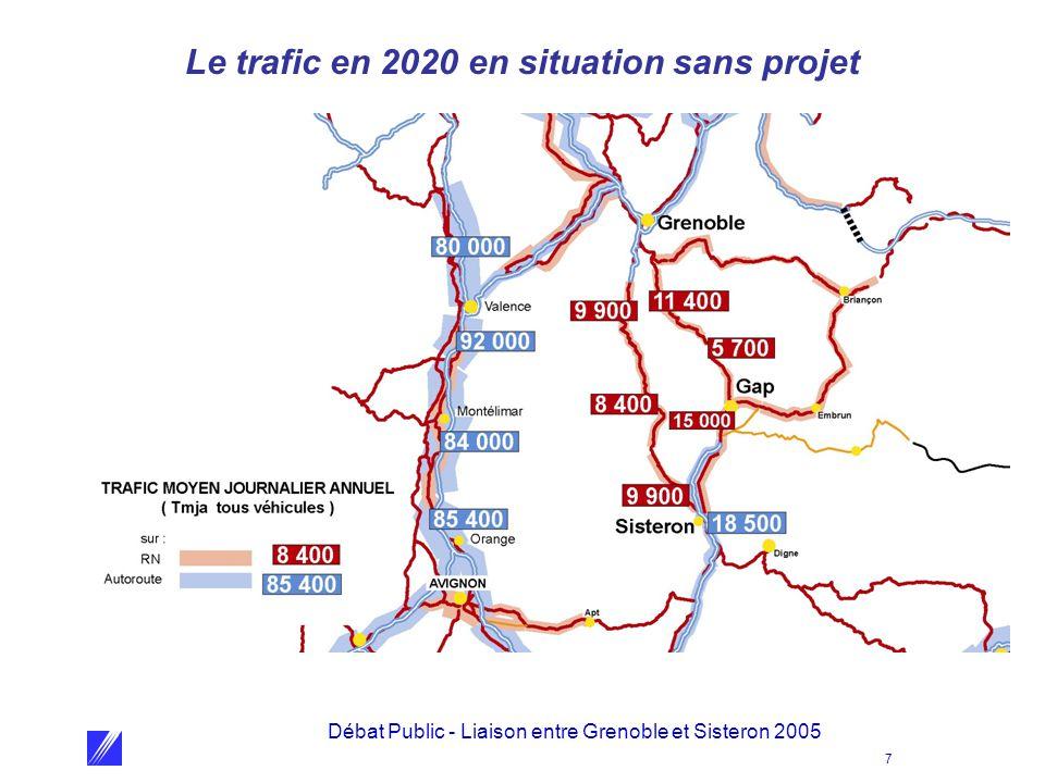 Le trafic en 2020 en situation sans projet