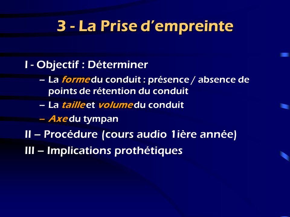 3 - La Prise d'empreinte I - Objectif : Déterminer