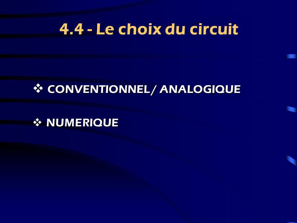 4.4 - Le choix du circuit CONVENTIONNEL / ANALOGIQUE NUMERIQUE