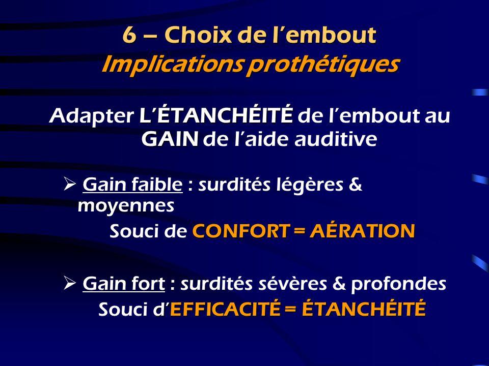 6 – Choix de l'embout Implications prothétiques