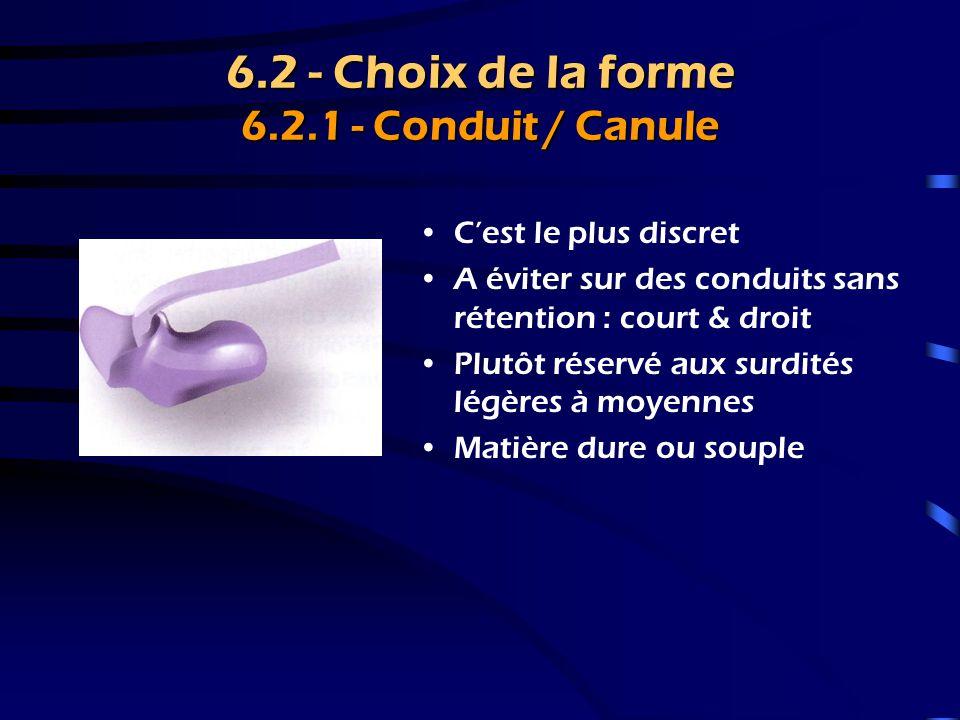 6.2 - Choix de la forme 6.2.1 - Conduit / Canule