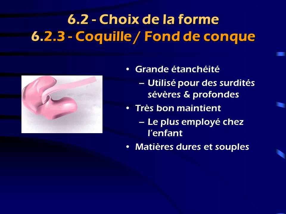 6.2 - Choix de la forme 6.2.3 - Coquille / Fond de conque